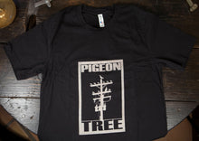 Black and White Texted Pigeon Tree Logo Tee Made in USA T-shirt Indigo Overdye