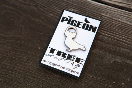 Pigeon Tree Crafting Pin- Pigeon With Headphones White and Black Nickel