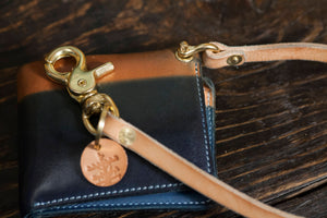 Indigo Twist Leather Wallet Lanyard with Solid Brass Hardware and Screw Shackle Closure