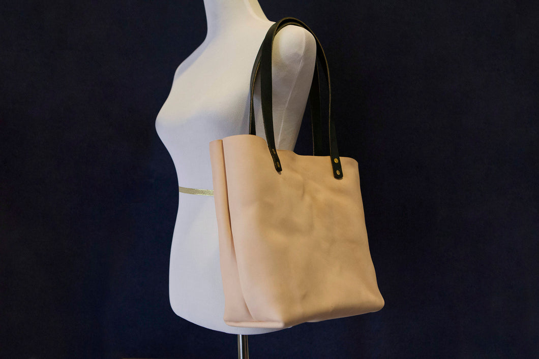 Made to Order - Natural Vegetable Tanned Leather Tote Shoulder Bag Made in USA