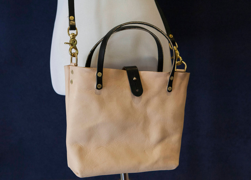 Made to Order - Natural Vegetable Tanned Handbag with Shoulder Strap, Black English Bridle Handles and Solid Brass Hardware Made in USA