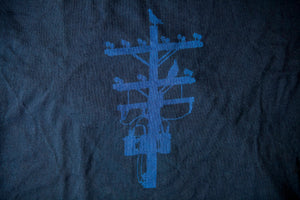 Black and White Pigeon Tree Logo Tee Made in USA T-shirt Indigo Overdye