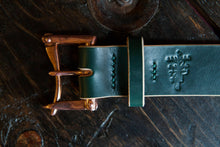 "1.5"" Double or Single Prong Copper Green Sedgwick Bridle Quick Release Belt"