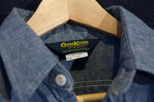 Vintage Osh Kosh B'Gosh 100% Cotton Chambray Workshirt with Acorn Pockets and Pen Holder Size Medium TALL