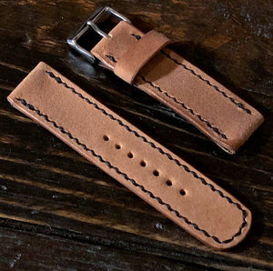 18 - 22mm Reverse Shell Cordovan Watch Strap Hand Stitched Made to Order and Customizable