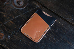Black Shell Cordovan Minimalist Wallet with Contrasting Whiskey Shell Cordovan Accent Pocket
