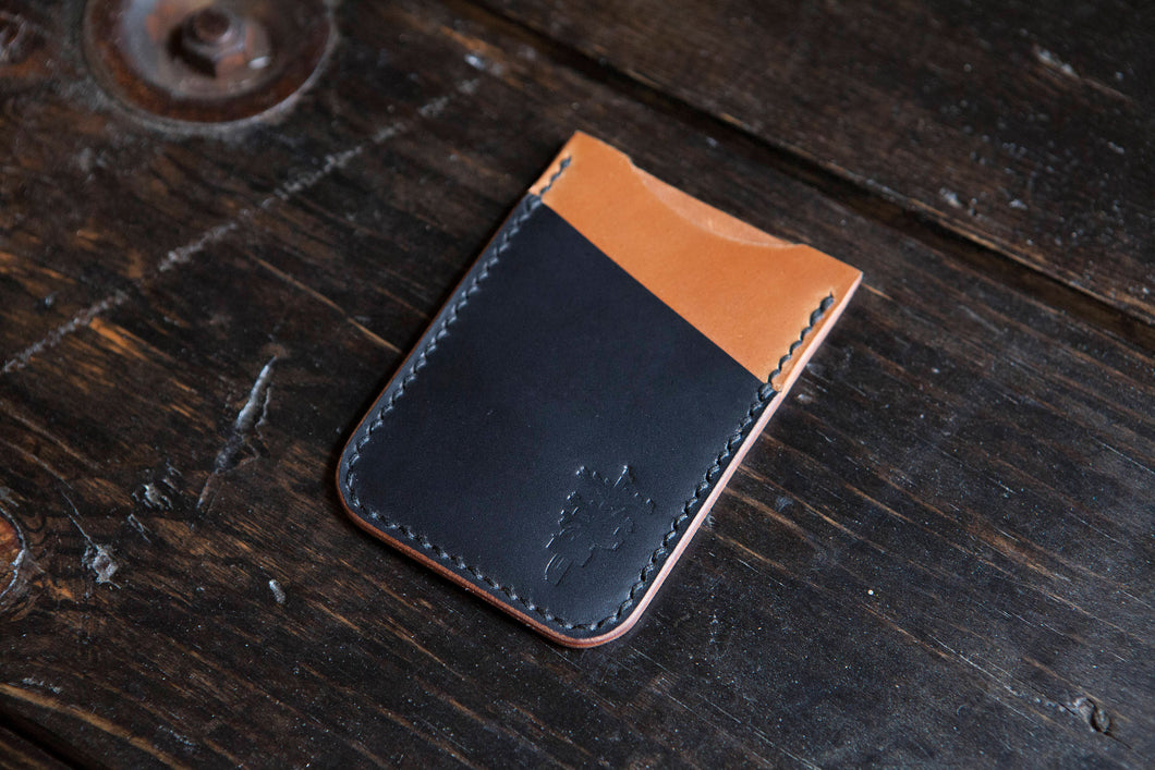 Whiskey Shell Cordovan Minimalist Wallet with Contrasting Black Shell Cordovan Accent Pocket
