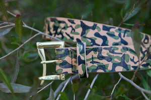 "1.5"" Double or Single Prong Hand Printed Camo Herman Oak Vegtan Quick Release Belt with Brass or Black Buckle"