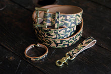 Hand Printed Camo Herman Oak Vegtan Leather Belt Loop Key Fob with Solid Brass Scissor Snap and Snap Closure