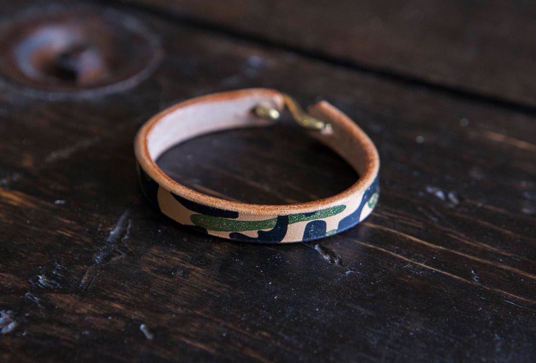 Hand Printed Camo Herman Oak Vegtan Leather Cuff with Solid Brass or Copper 'S' Clasp