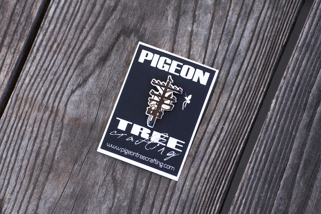 Pigeon Tree Crafting Pin- Black and Nickel Silver - Telephone Pole Pin Los Angeles Pingame