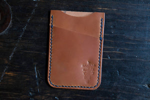 Shell Cordovan Wallet Cardholder Minimalist Whiskey Shell Cordovan Brown Leather Wallet Hand Stitched with Indigo Thread Made in USA wallet