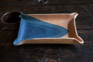 Indigo Dyed and Wet Formed Natural Leather Catchall Tray Solid Indigo with Curved Multi-Dip Abstract Indigo Design