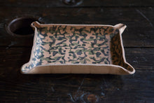 Wet Formed Natural Leather Catchall Tray with Hand Printed Camo Pattern