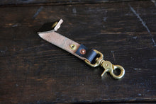 Painted Black Leather Belt Fob with Brass Scissor Snap *fades to brown to pair with Red Wing Klondike Leather*