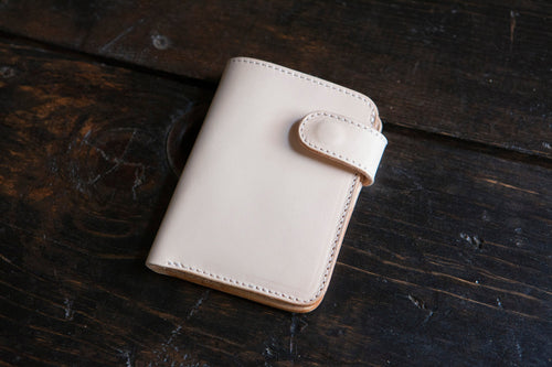 Natural Vegetable Tanned Vegtan Mid-Wallet Bifold with Snap full-size cash compartment 6 card slots + 2 hidden slots
