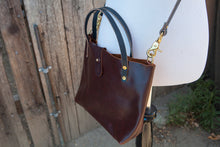 Made to Order - Oxblood Burgundy Handbag with Shoulder Strap, Black English Bridle Handles and Solid Brass Hardware Made in USA