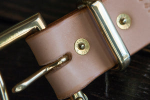 "1.5"" Natural Vegtan Double or Single Prong Quick Release Belt with Solid Brass or Nickel Plated Hardware"