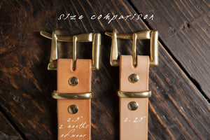 "1.25"" Natural Vegetable Tanned Leather Quick Release Belt with Solid Brass or Nickel Plated Hardware"