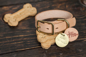 "1"" Natural Vegetable Tanned Leather Dog Collar - Custom Made to Order"
