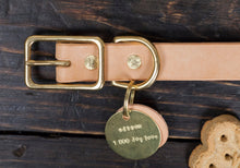 "1"" or 3/4"" Natural Vegetable Tanned Leather Dog Collar - Custom Made to Order"