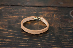 Natural Vegtan Leather Cuff- Brass, Copper or Nickel S Clasp