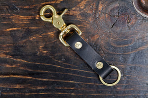 Black Bridle Beltfob Keychain with Brass Hardware