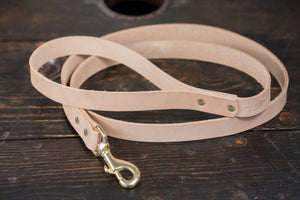 "1"" or 3/4"" Natural Vegtan or Black Bridle Leather Dog Leash 5' with Brass Hardware - Made to Order"