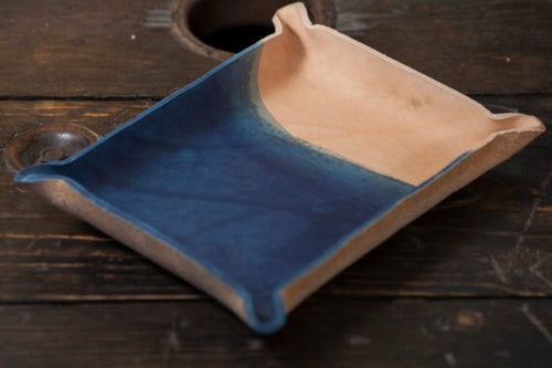 Indigo Dyed and Wet Formed Natural Leather Catchall Tray Solid Indigo with rough dip