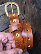 "1"" Slim Belt with Japanese Brass Hardware and Swedish Tärnsjö or Vegtan Leather - Made to Order"