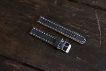 18 - 22mm Painted Black (fades to brown) Watch Strap Hand Stitched Made to Order and Customizable