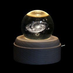 3D Galaxy & Moon Crystal Ball With Base & Music Box