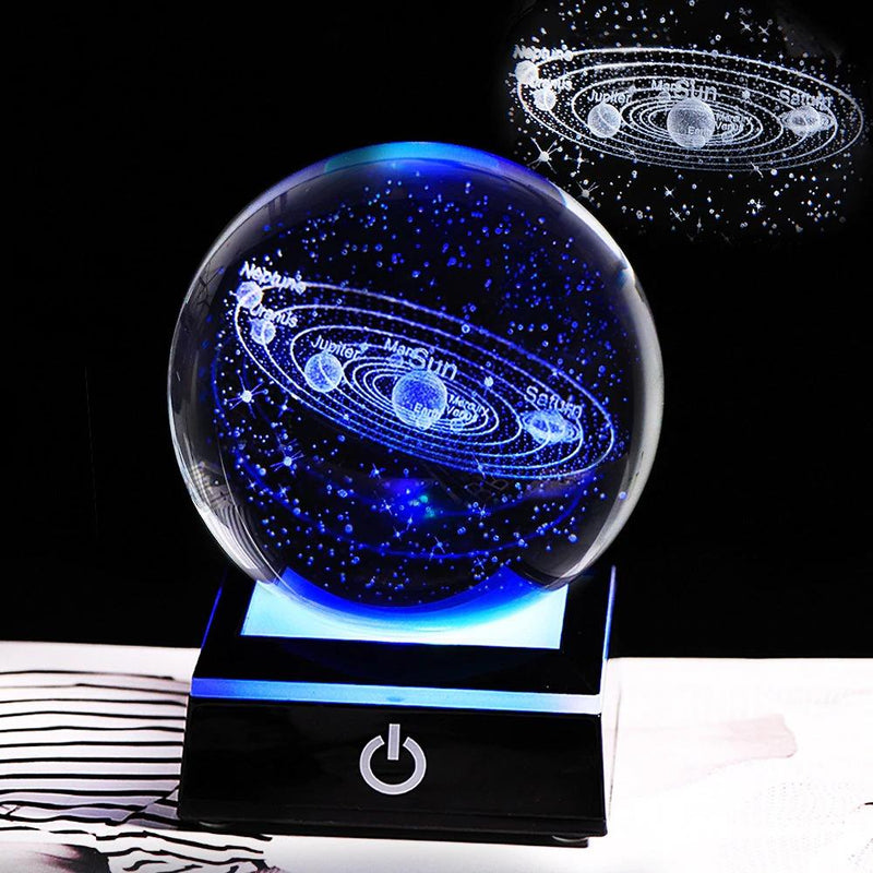 3D Solar System Crystal Ball With Stars & Debris