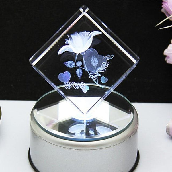 "3D Laser Engraved Crystal Cube LED "" I Love You"" Rose"
