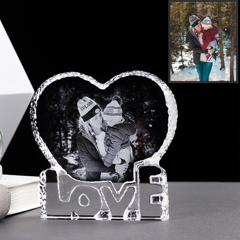 "Custom Crystal Photo Frame"" Love Heart"""