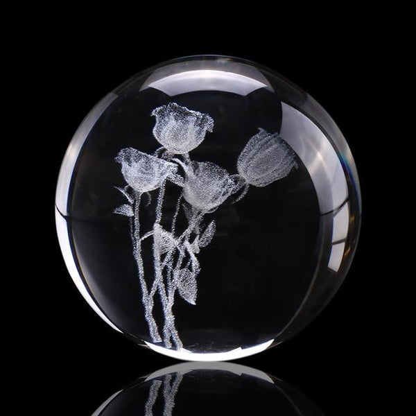 3D Rose Crystal Ball | Gifts Ideas, Crystal Ball Decor, Lighting & More | StylishGram