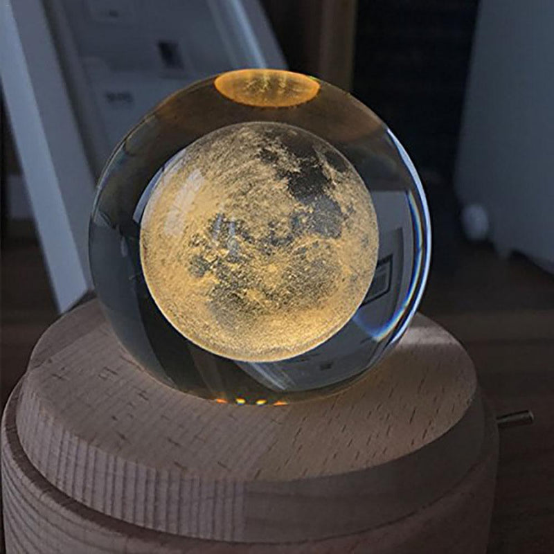 3D Moon Crystal Ball With Base & Music Box | Gifts Ideas, Crystal Ball Decor, Lighting & More | StylishGram