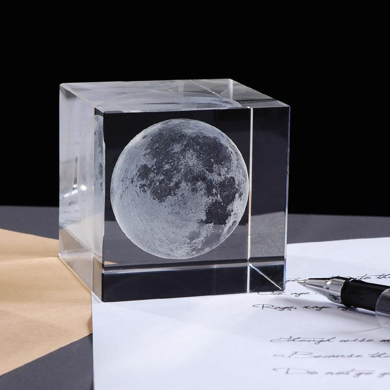 3D Laser Engraved Moon Crystal Cube | Gifts Ideas, Crystal Ball Decor, Lighting & More | StylishGram