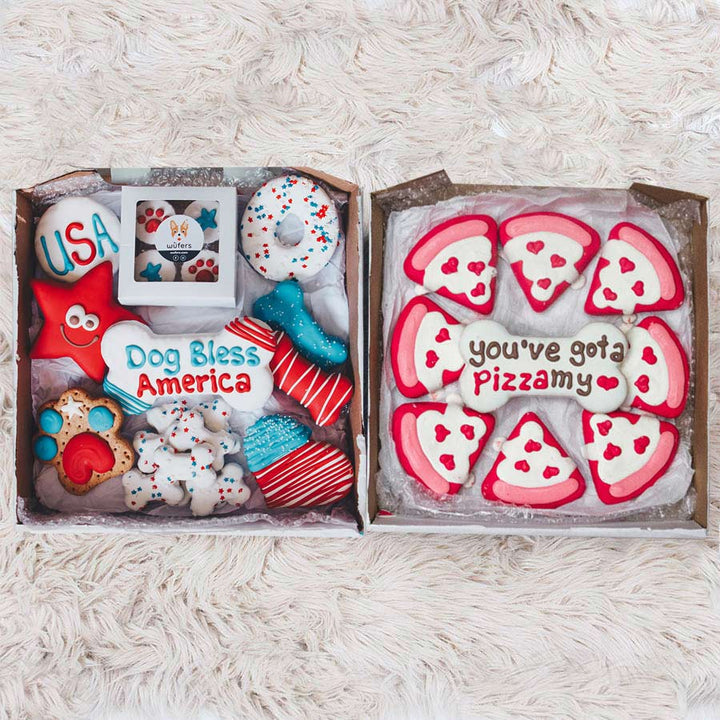Pizza My Love + Dog Bless America Cookie Box Bundle