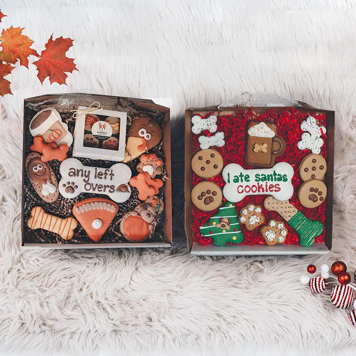 Night Before Christmas + Holiday Feast Cookie Box Bundle - Wüfers Cookie Boxes for Dogs