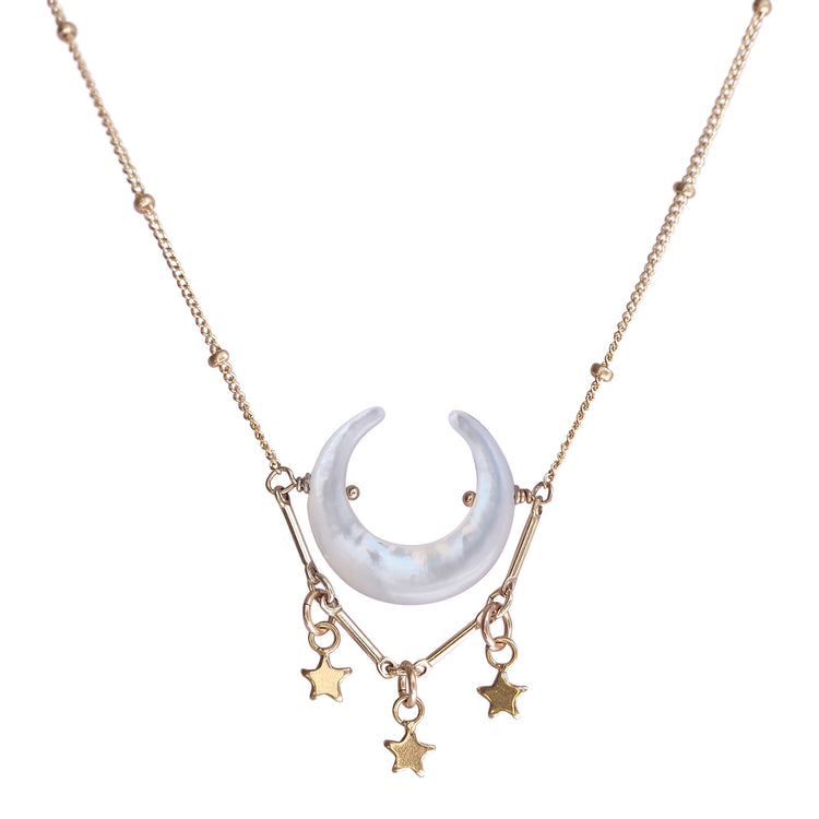 moon necklace mother of pearl with golden stars