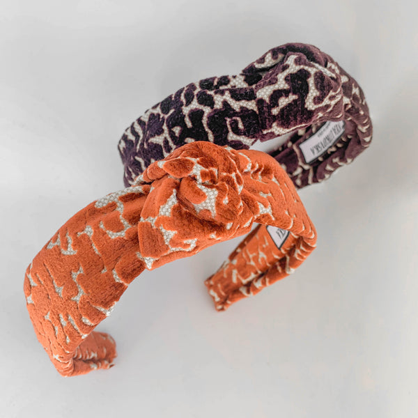animal print headband in giraffe ginger | velvet headbands by tanya litkovska