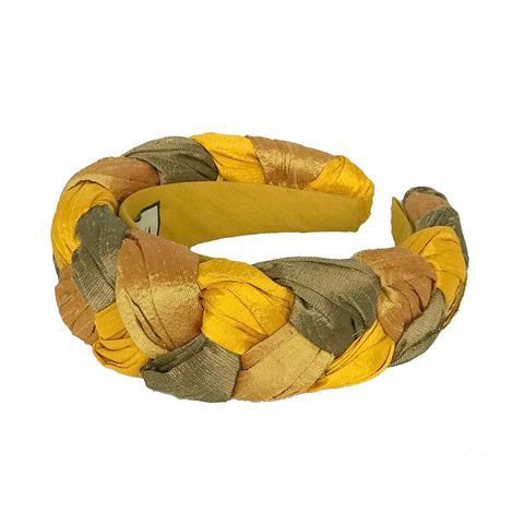 braided headband | silk yellow gold headband for women by tanya litkovska