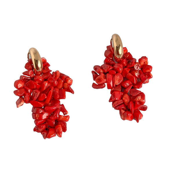 coral cross earrings | statement earrings | coral earrings by tanya litkovska