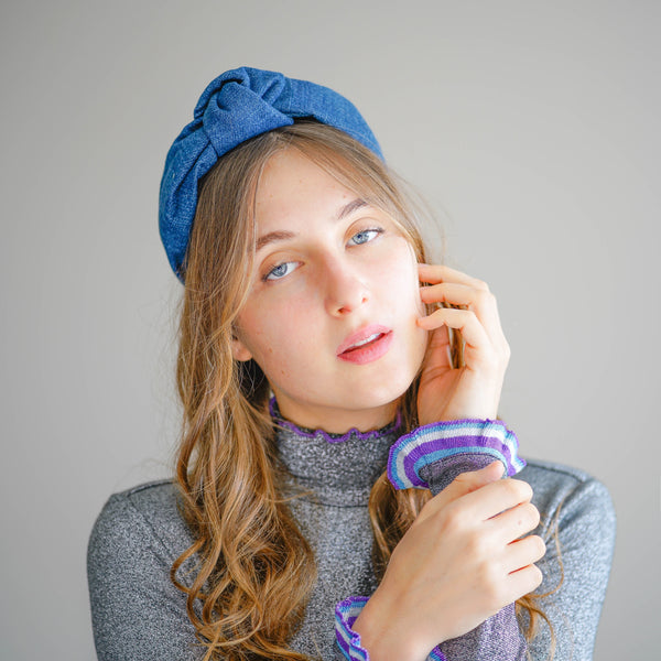 denim headband | knot headband | thin headbands by tanya litkovska