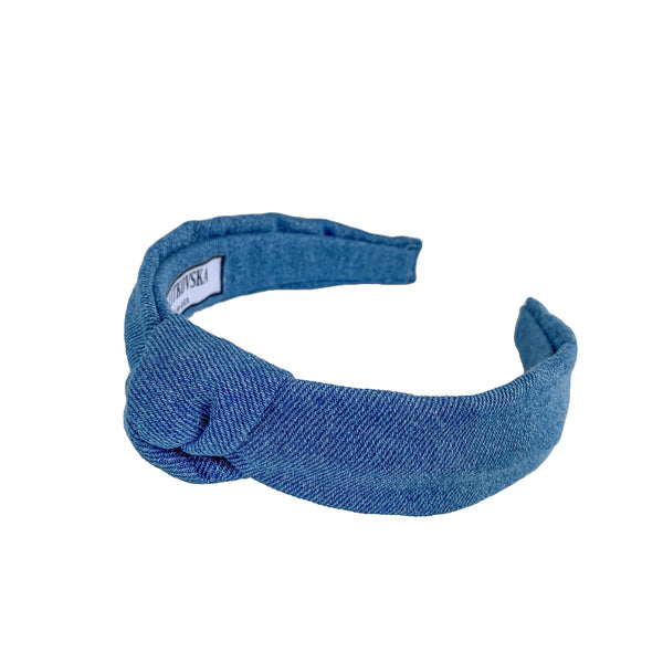 denim headband | slim knot blue headband by tanya litkovska