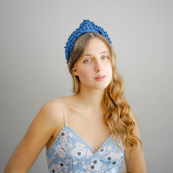 Denim Beaded Headband