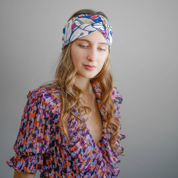 floral turban headband | multi colored turban | cotton turban headband by tanya litkovska