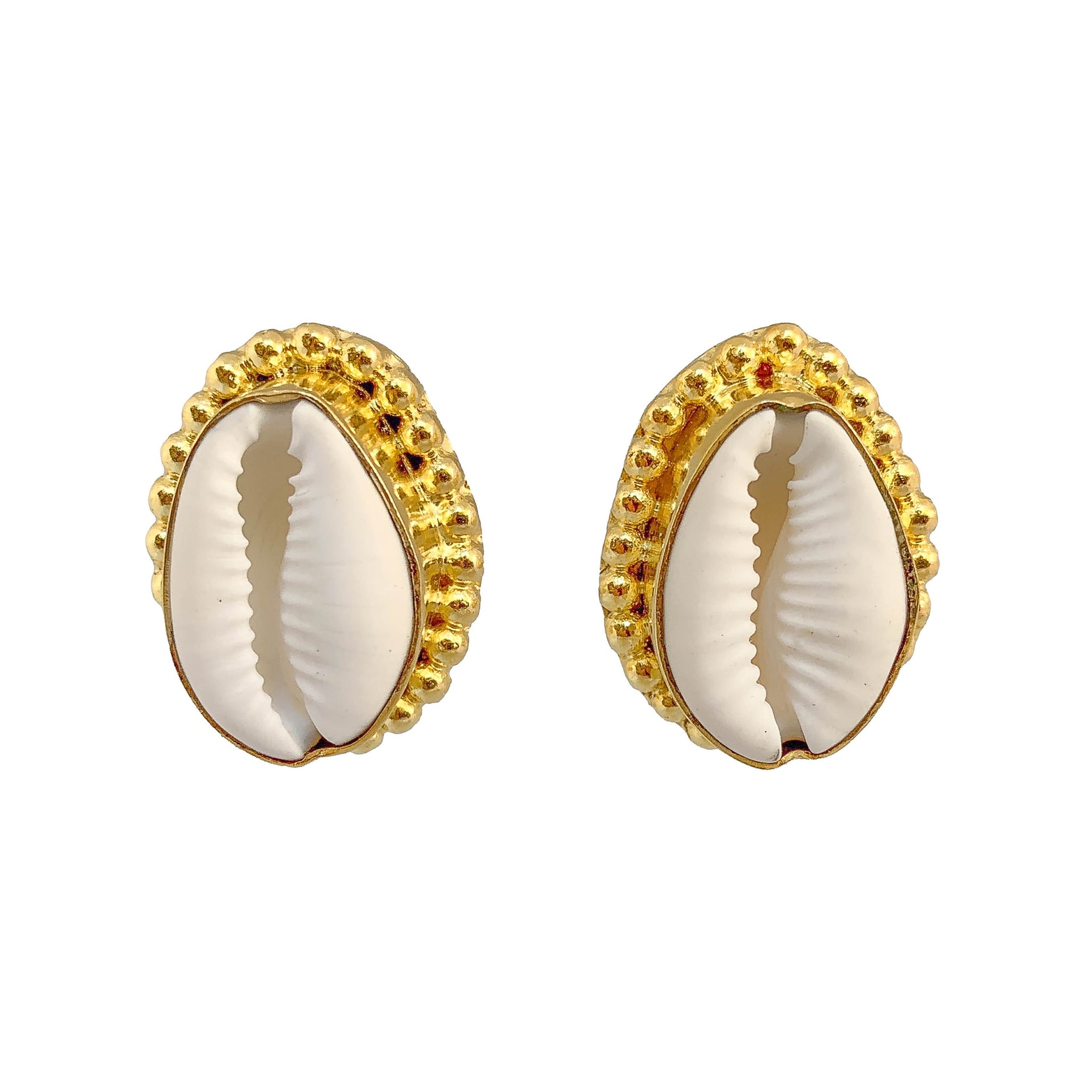 Gold Plated Stud Earrings | Unique Handcrafted Earrings | Shell Earrings by Tanya Litkovska