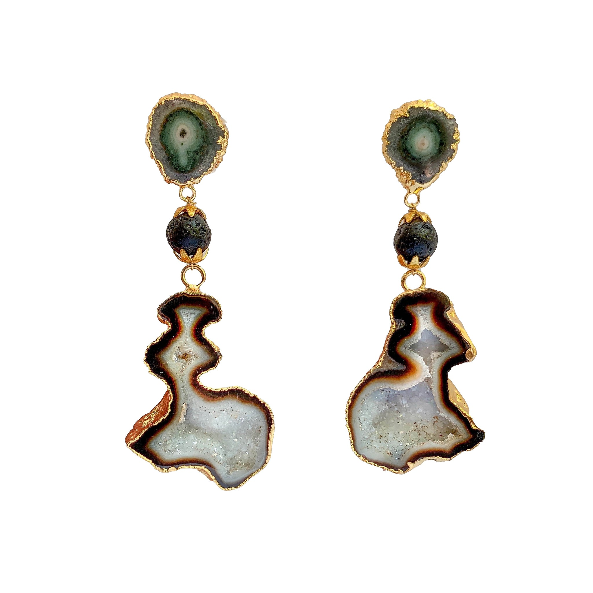 Handmade Gemstone Earrings | Luxury Gold Plated Earrings Artisan Drop Earrings by Tanya Litkovska